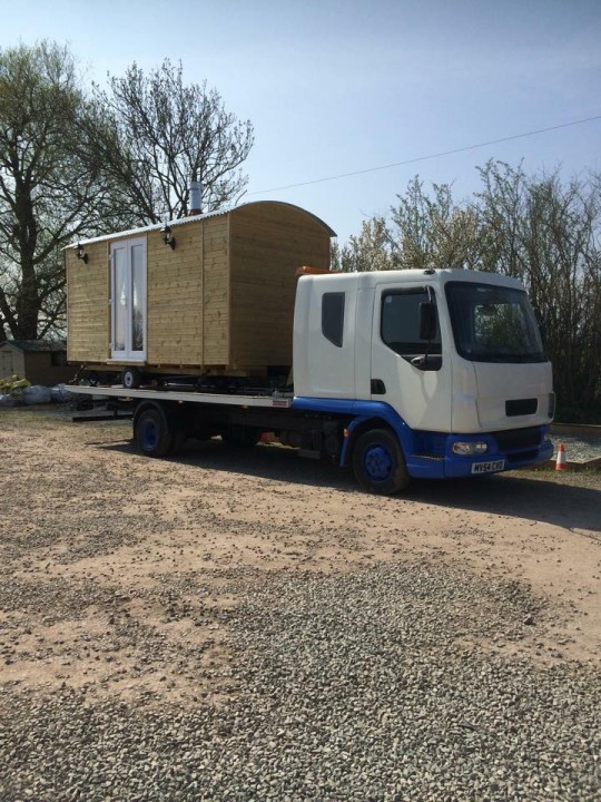 Photo of a newly built shepherds hut on route to delighted new owner in Galway, Ireland.