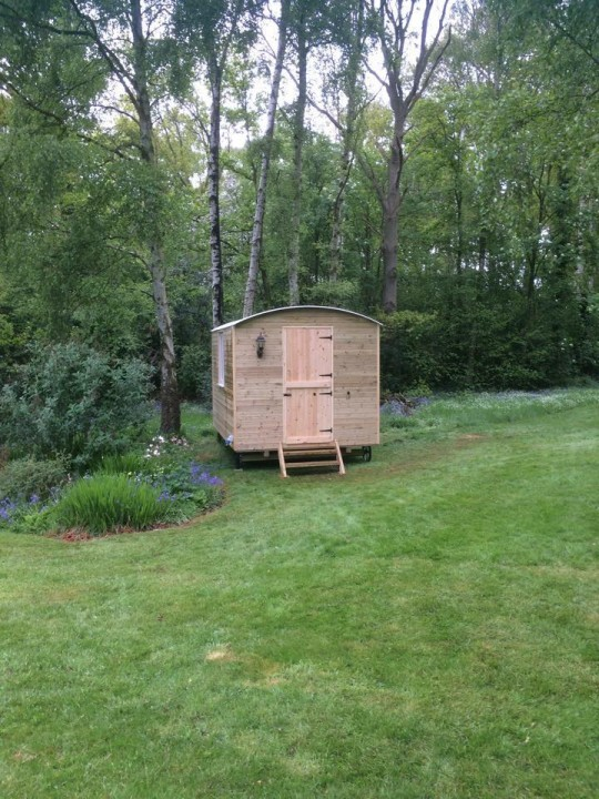 Finished hut on site Photo of a recently completed shepherds hut on site.