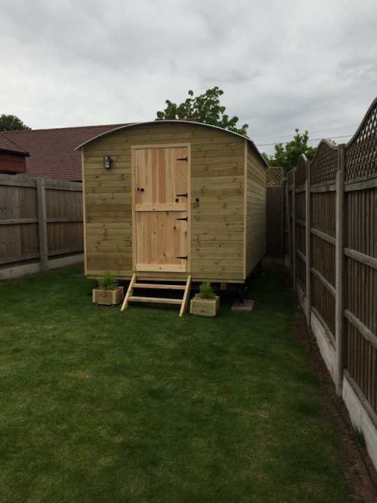 Photo of one of our huts in situ.