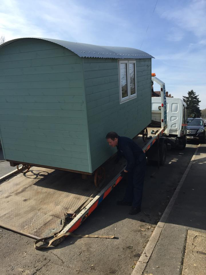 Photo of Shepherds Huts being loaded on trailer