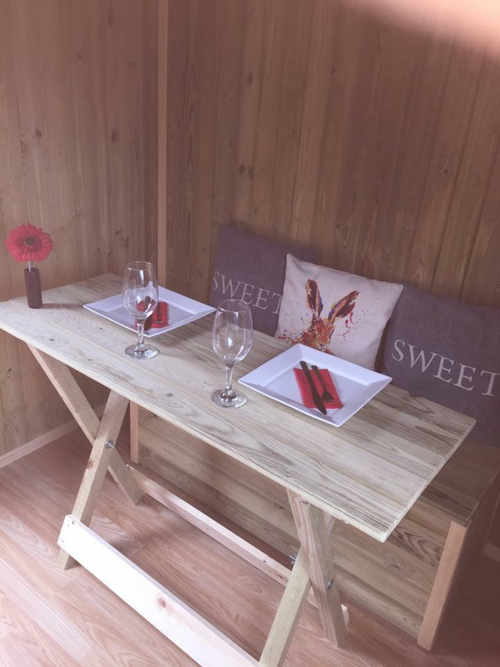 Photo of Shepherds Huts table in Lower wood.