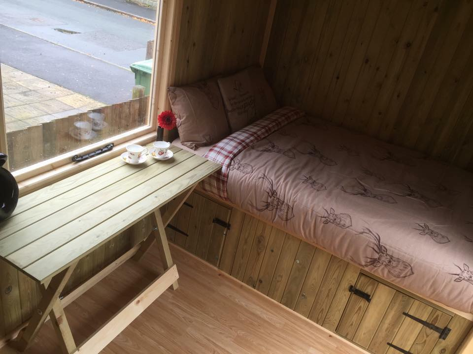Photo of Shepherds Huts single bed in Shropshire.