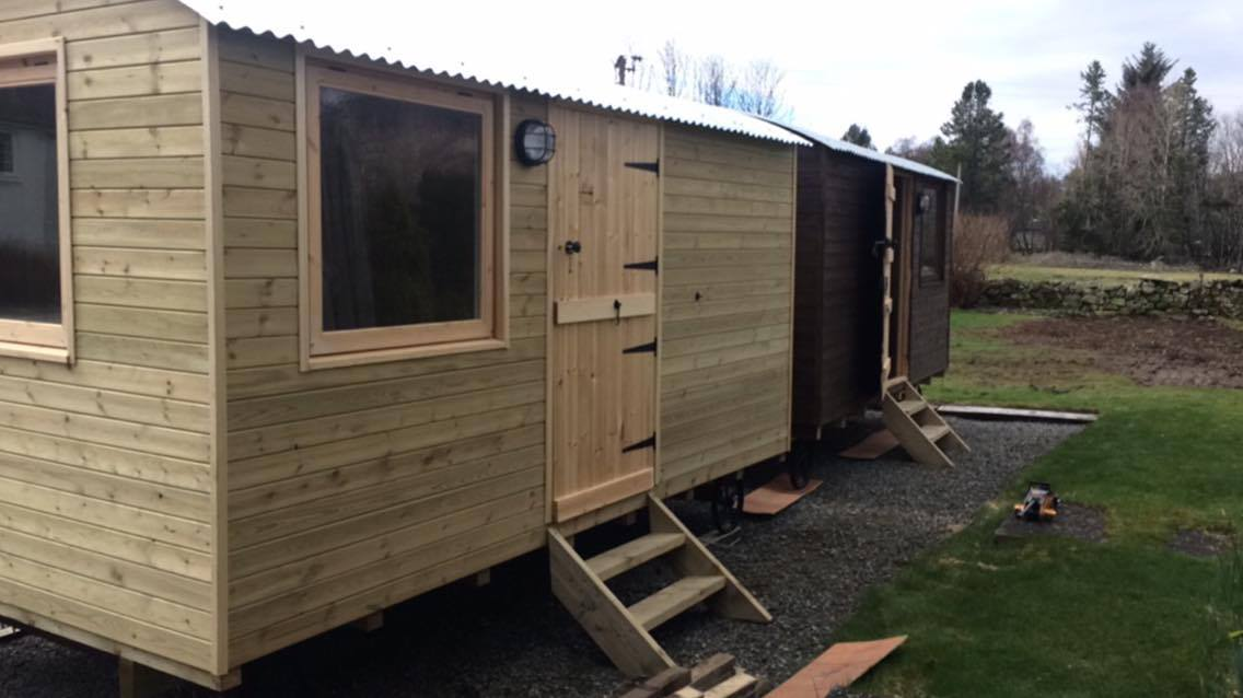 Tow of our huts together in Scotland- Shropshire Shepherds Huts & Pods