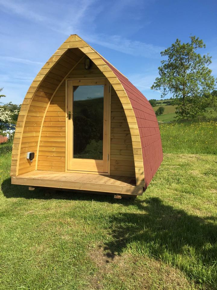 Glamping pod on site in shropshire